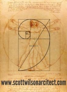 "Leonardo da Vinci's ""Vitruvian Man"",  showing the golden ratio in body dimensions."